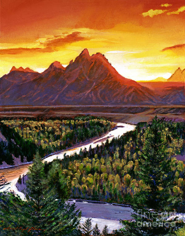 Mountains Poster featuring the painting Sunset Over The Grand Tetons by David Lloyd Glover