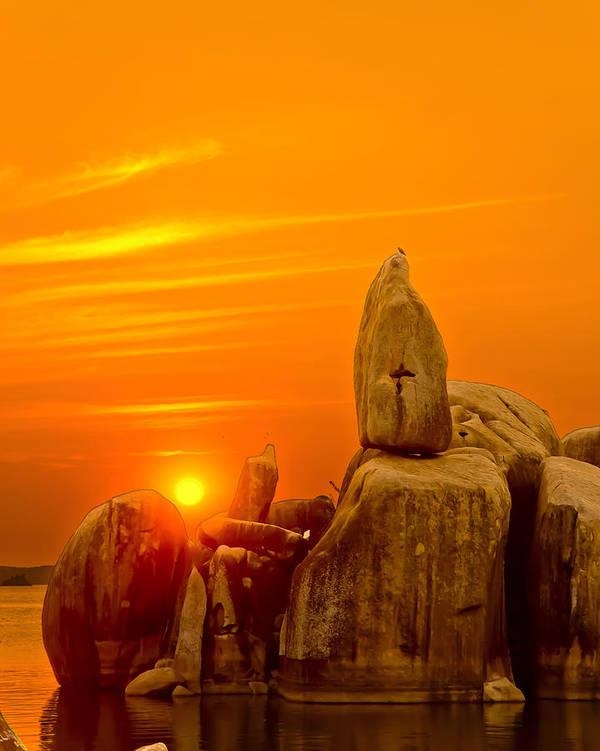 Bismark Rock Poster featuring the photograph Bismarck Rock At Sunset by Patrick Kain