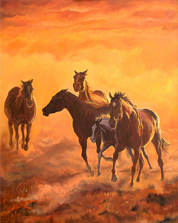 Horses Poster featuring the painting Sunset Run by Jana Goode