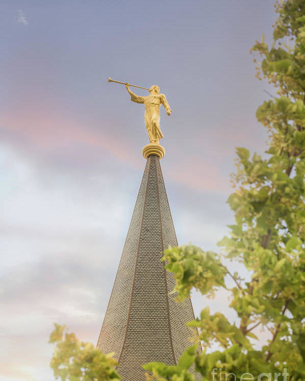 sunset sky of angel moroni lds provo city center temple poster by