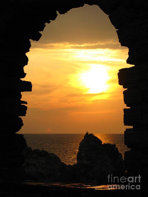 Sunset Poster featuring the photograph Sunset With Stone Frame by Jeff White