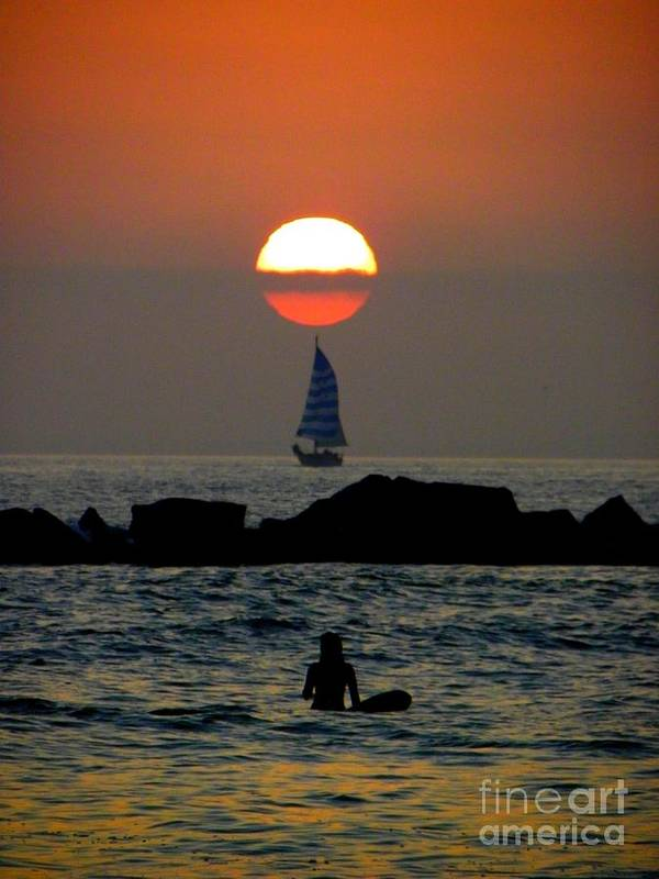 Sunset Poster featuring the photograph Sunset With Yacht And Surfer by Henry Murray