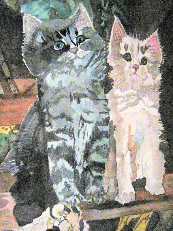 Kittyens Poster featuring the painting Sunshine And Shadow by Holly Schussler