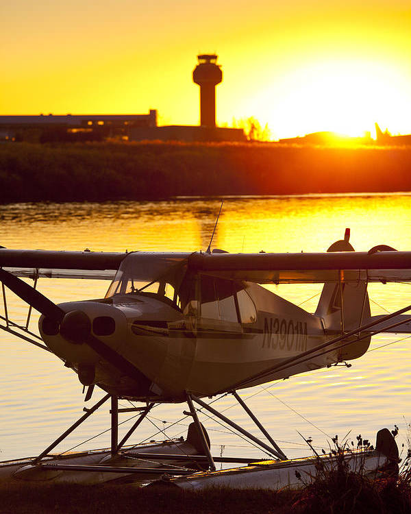 Air Traffic Control Tower Poster featuring the photograph Super Cub At The End Of The Day by Tim Grams