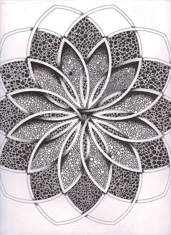 Geometric Poster featuring the drawing Superfactorial Flower by Geoffroy Dextraze