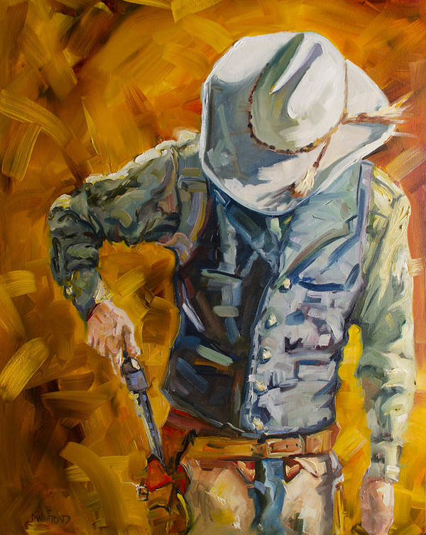 Cowboy Poster featuring the painting Sure Shot by Diane Whitehead