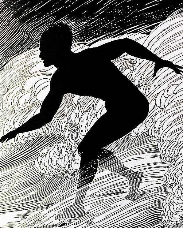 1930 Poster featuring the painting Surfer by Hawaiian Legacy Archive - Printscapes