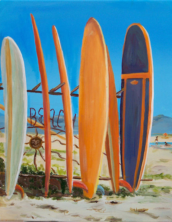 Ocean Poster featuring the painting Surf's Up by Ronald Lightcap