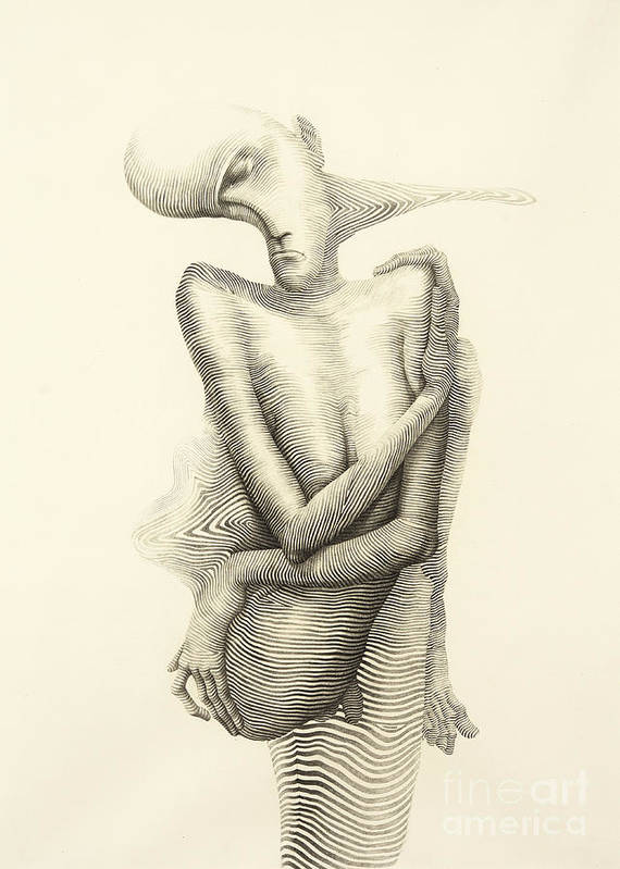 Surreal Hand Drawing Abstract Human Body Decorative Artwork Cebanenco Stanislav Poster