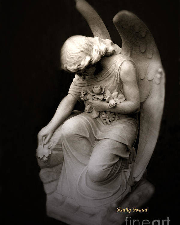 Angel Art Poster featuring the photograph Surreal Sad Angel Kneeling In Prayer by Kathy Fornal