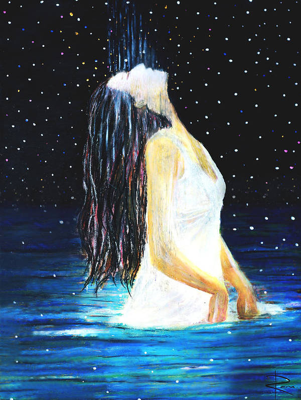 Ocean Poster featuring the painting Surrender by NARI - Mother Earth Spirit