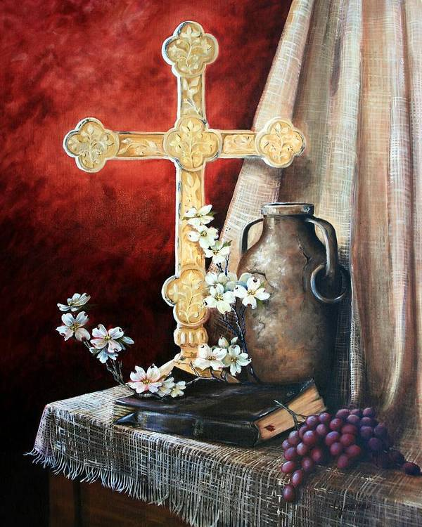 Cross Poster featuring the painting Survey The Wonderous Cross by Cynara Shelton