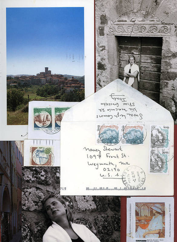 Blonde Woman In Italy Poster featuring the mixed media Susan In Italia by Nancy Ferrier