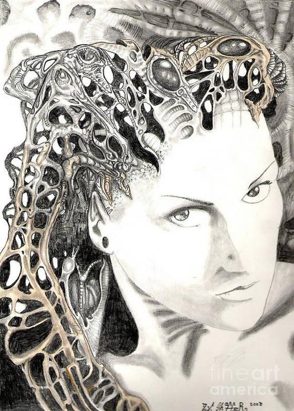 Portrait Poster featuring the drawing Susanna Wingarten Last Resort Of An Open Mind 2008 by Zeb Shaffer