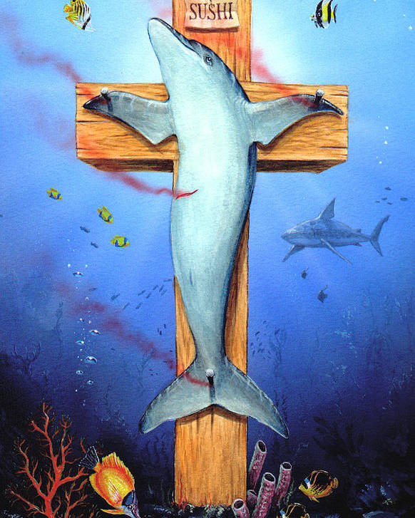Dolphin Poster featuring the painting Sushi by Victor Whitmill