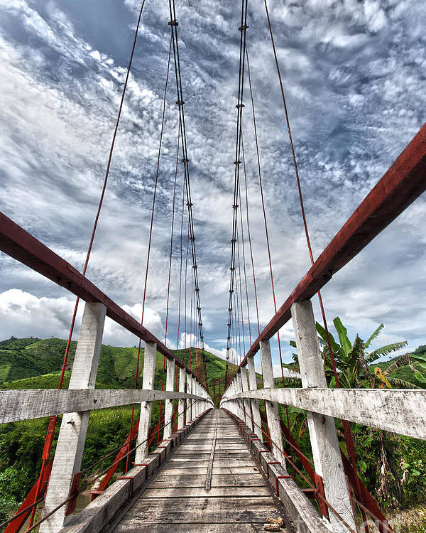 Asia Poster featuring the photograph Suspended Bridge by MotHaiBaPhoto Prints