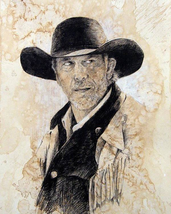 Cowboy Art Poster featuring the drawing Suspicious by Debra Jones