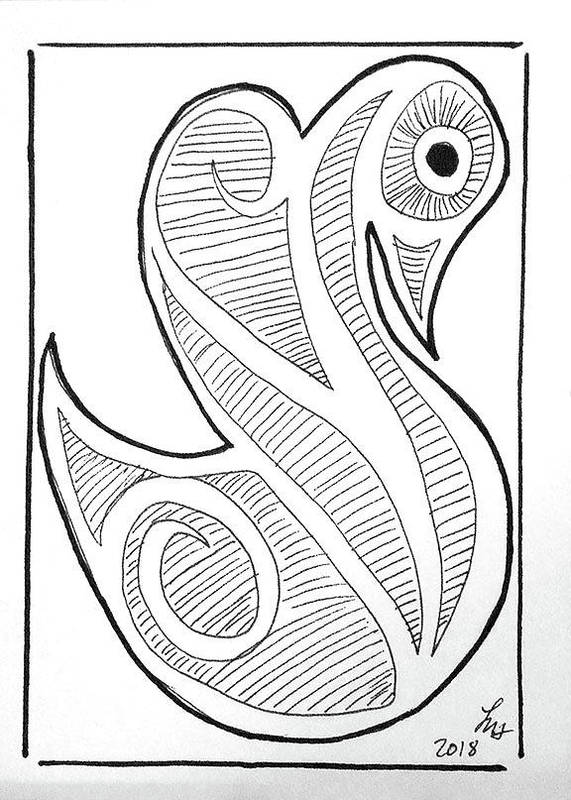 Art Poster featuring the drawing Swan by Loretta Nash