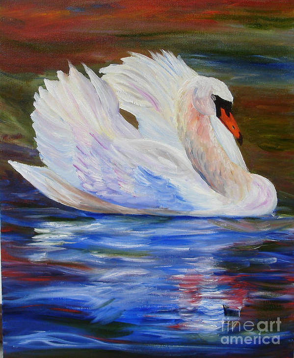 Swan Poster featuring the painting Swan Wildlife Painting by Mary Jo Zorad