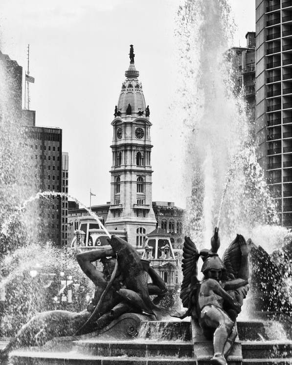 Fountain Poster featuring the photograph Swann Memorial Fountain In Black And White by Bill Cannon