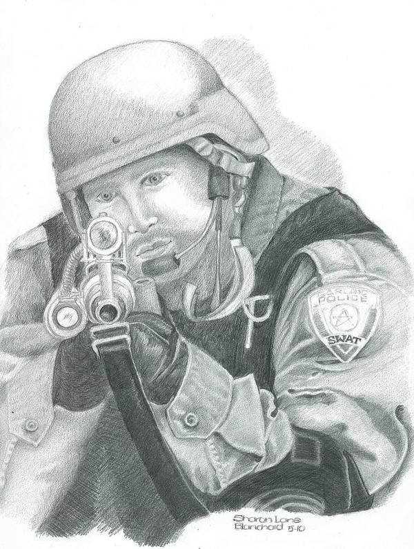 S.w.a.t. Poster featuring the drawing S.w.a.t. At The Ready by Sharon Blanchard