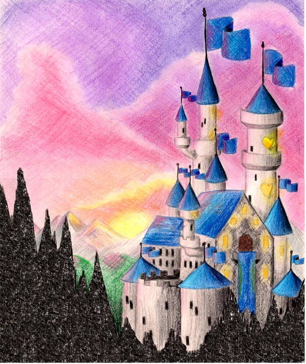 Colored Pencil Poster featuring the drawing Sweet Heart Castle by Scarlett Royal