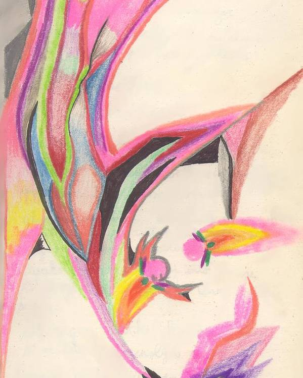 Abstract Poster featuring the drawing Sweet Spring by Peter Shor