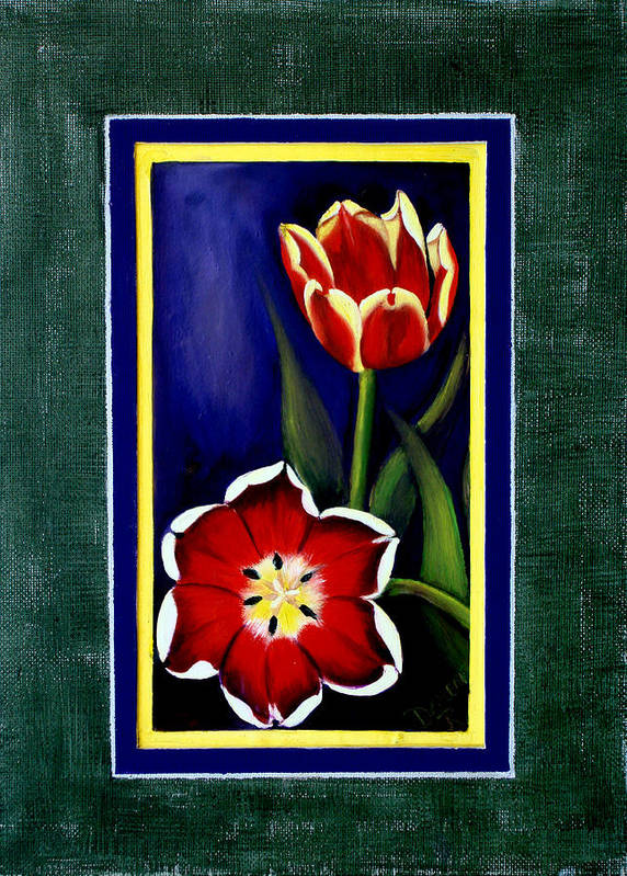 Tulips Poster featuring the painting Sweetheart Tulips by Darlene Green