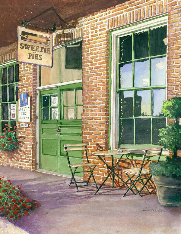Cityscape Poster featuring the painting Sweetie Pies Bakery by Gail Chandler