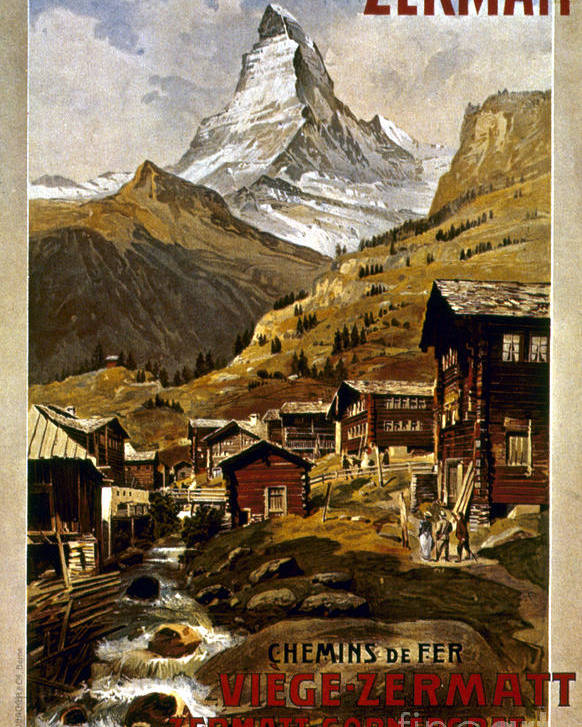 1898 Poster featuring the painting Swiss Travel Poster, 1898 by Granger