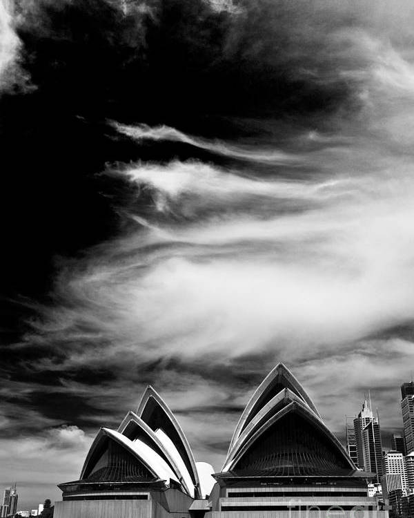 Sydney Opera House Monochrome Poster featuring the photograph Sydney Opera House portrait by Sheila Smart Fine Art Photography