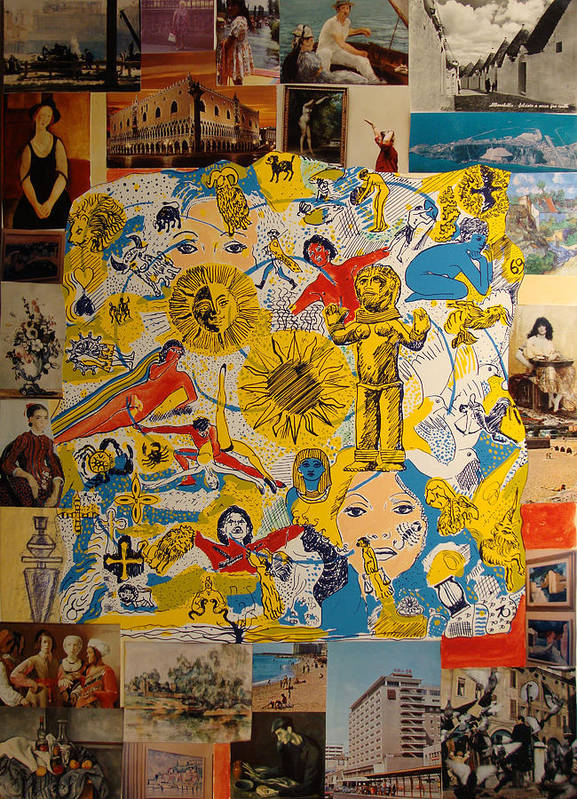 Poster featuring the painting Symbols with Alberobello by Biagio Civale