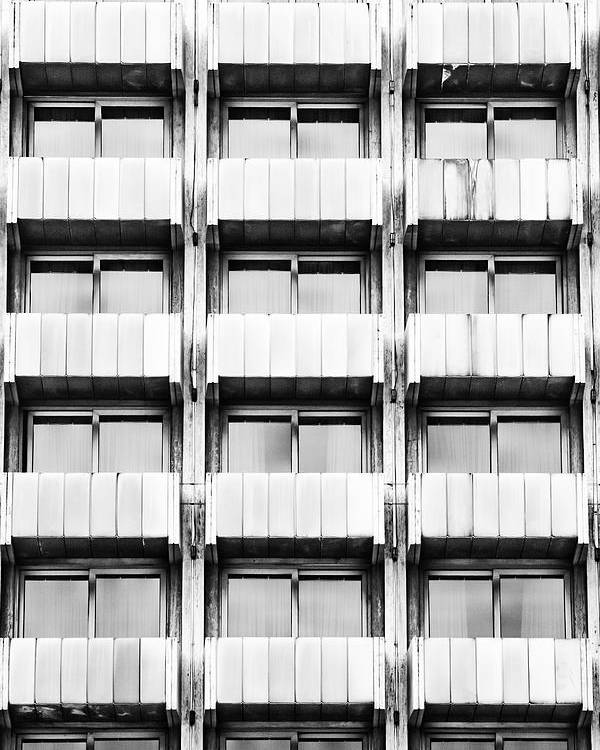 Building; Windows; Architecture; Modern; Urban; City; Tall; Glass; Structure; Exterior; Perspective; Symetry; Detail; Pattern; Background; Black And White; Bw; Symetrical; Symetrycal; Poster featuring the photograph Symetry by Gabriela Insuratelu