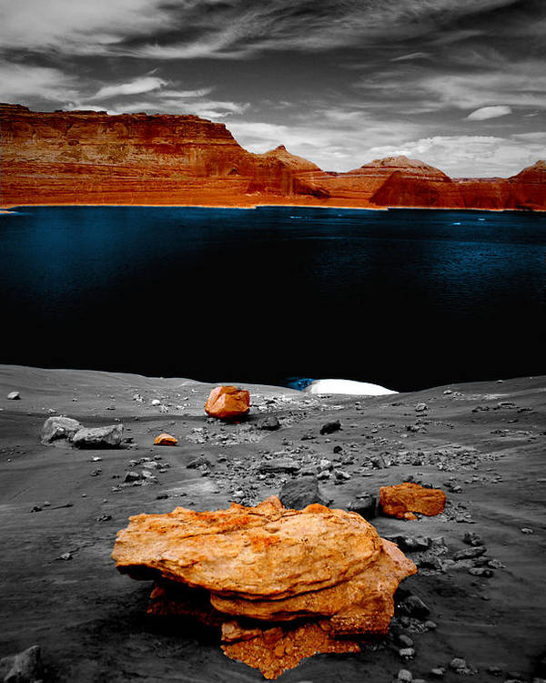 Photography Poster featuring the photograph Tabletop Boulder Lake Powell by Tom Fant