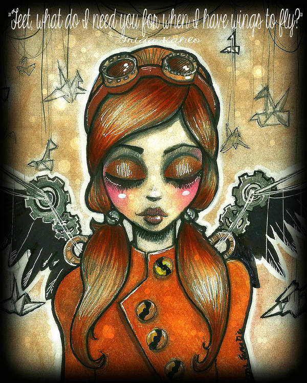 Frida Poster featuring the drawing Take Flight Steampunk Aviator by Margie Forestier