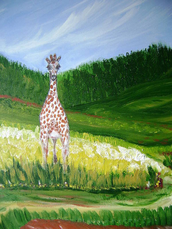 Giraffe Poster featuring the painting Taking In The View by Laura Johnson