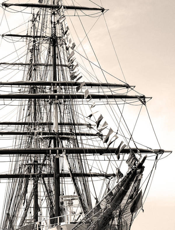 Cape Fear River Poster featuring the photograph Tall Ship by Paul Boroznoff