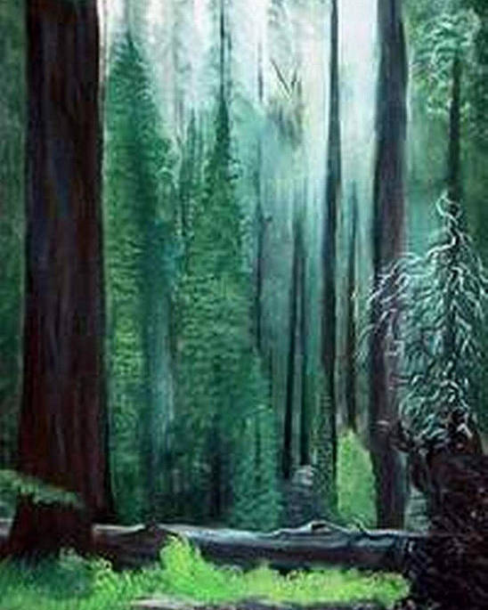 Landscape Poster featuring the painting Tall Trees by Julie Lamons