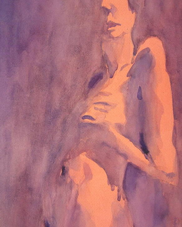 Nude Female Poster featuring the painting Tangerine Nude by Ken Daugherty