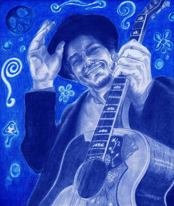 Bob Dylan Portrait Poster featuring the drawing Tangled Up In Blue by Kathleen Kelly Thompson