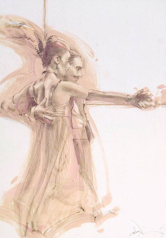 Dance Poster featuring the mixed media Tango Study 1 by Charles Willmott