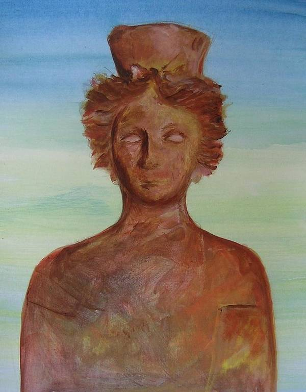 Icon Poster featuring the painting Tanit Mythical Godess Of Ibiza by Lizzy Forrester
