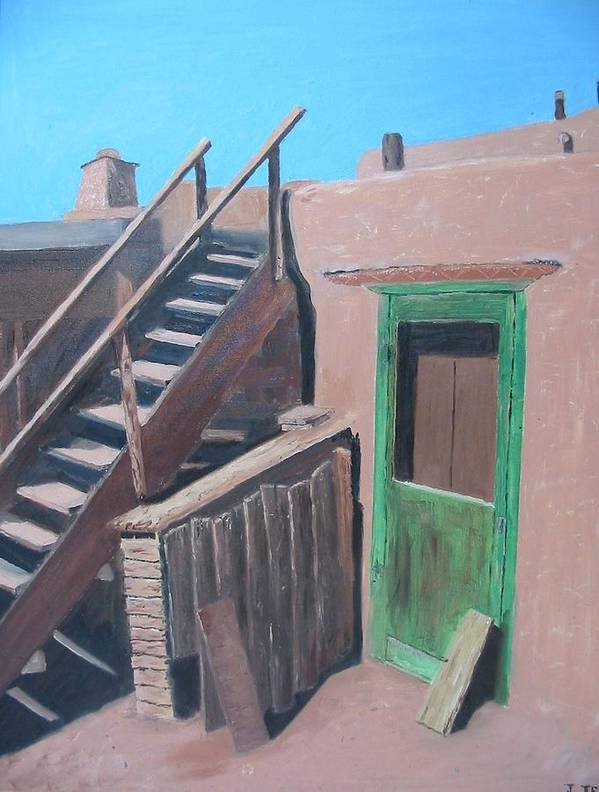 Southwest Poster featuring the painting Taos Pueblo I by John Terry