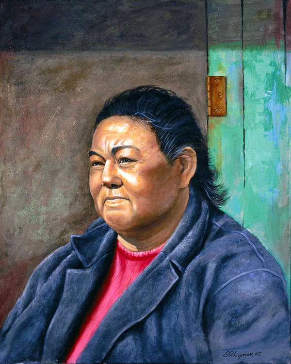 Portraiture Poster featuring the painting Taos Pueblo Woman by Brooke Lyman