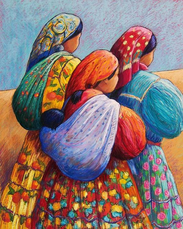 Mexico Poster featuring the pastel Tarahumara Women by Candy Mayer