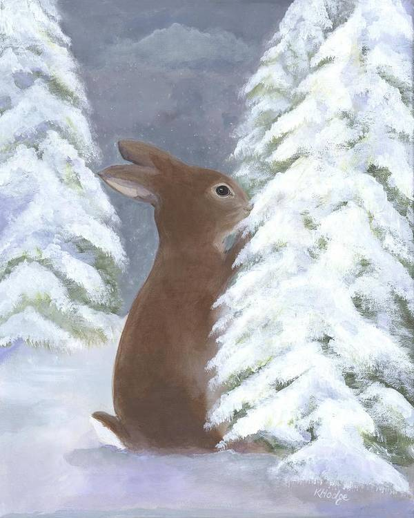 Bunny Poster featuring the painting Tasting Winter by Kimberly Hodge