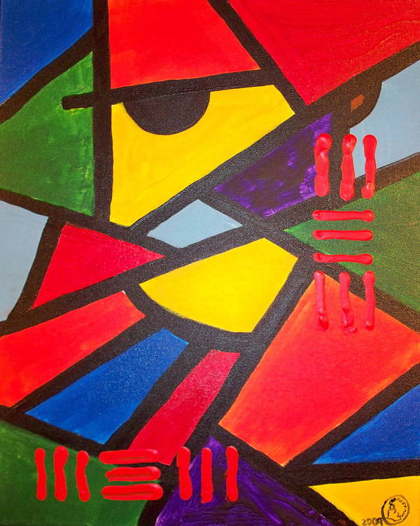 Absract Poster featuring the painting Tatu by Malik Seneferu