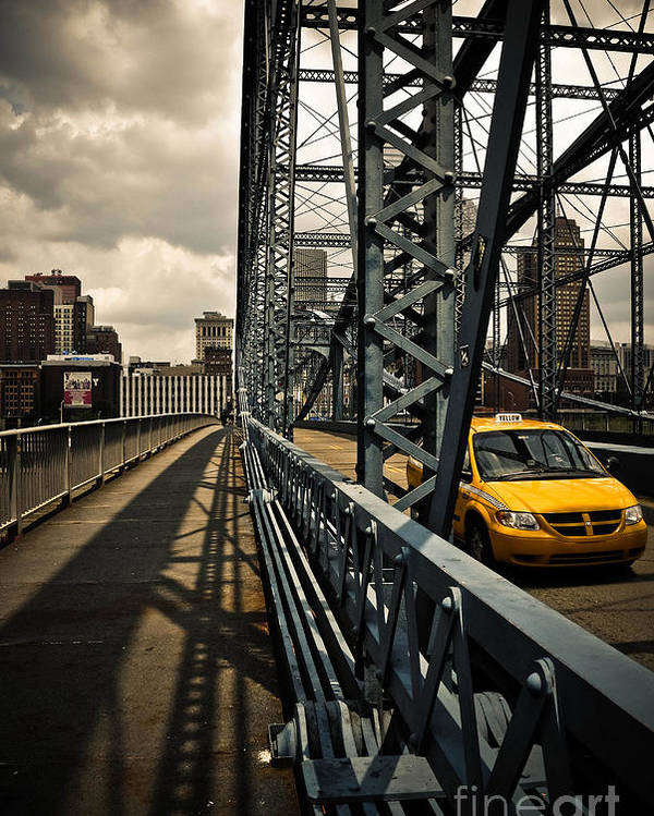 Allegheny County Poster featuring the photograph Taxi Crossing Smithfield Street Bridge Pittsburgh Pennsylvania by Amy Cicconi