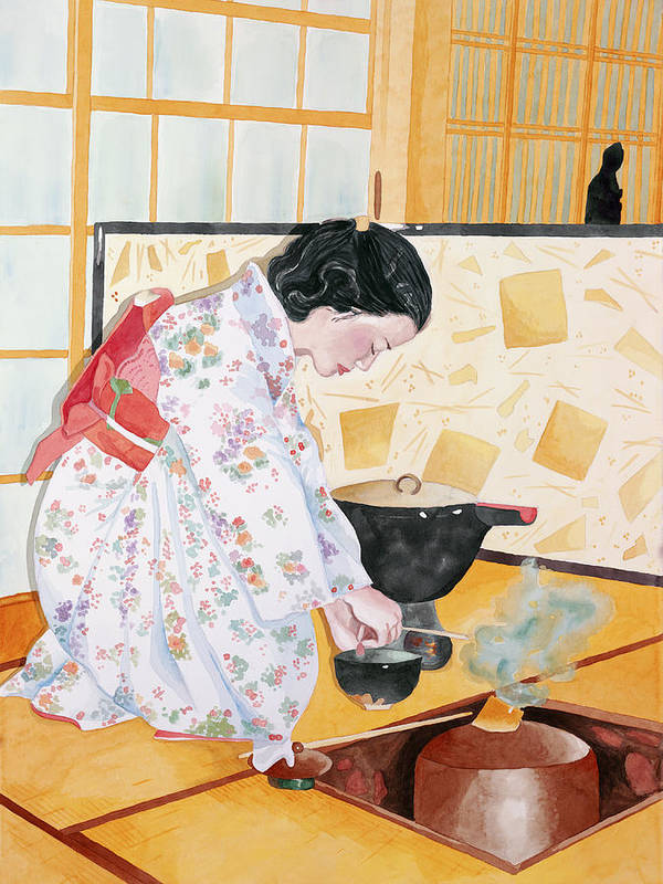 Japanese Woman Performing Tea Ceremony Poster featuring the painting Tea Ceremony by Judy Swerlick