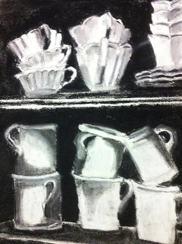 Teacups Poster featuring the drawing Crooked Tea Cups by Cherylene Henderson